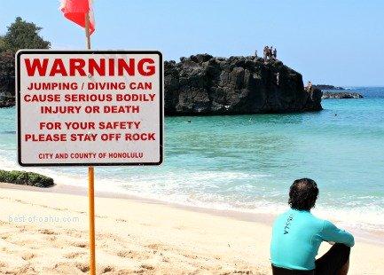 Waimea Bay Warning Sign