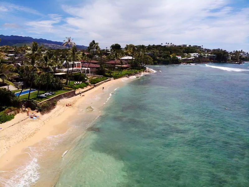 Diamond Head Beach Drone View