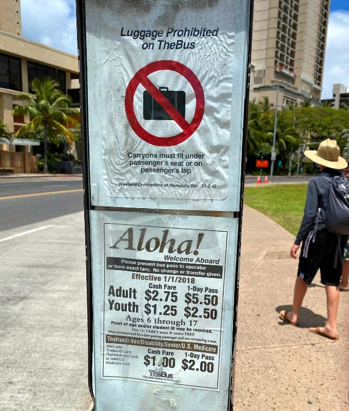 Oahu Bus Luggage Sign