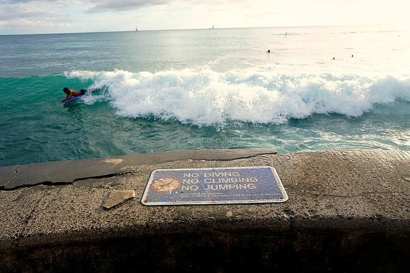 Waikiki Walls No Jumping Sign